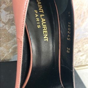 Saint Laurent Shoes - Saint Laurent Janis Blush Leather Platform Pump